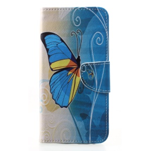 Pattern Printing Cross Texture Leather Wallet Cover Shell Case for Motorola Moto G6 Plus - Blue Butterfly