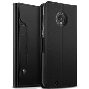 For Motorola Moto G6 Leather Wallet Stand Casing with Card Holder and Makeup Mirror - Black