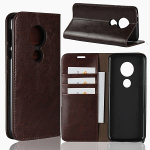 Crazy Horse Texture Genuine Leather Wallet Stand Cell Phone Casing for Motorola Moto E5 / Moto G6 Play - Coffee
