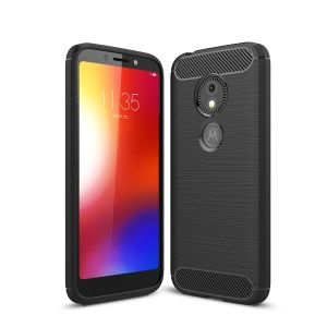 Carbon Fibre Brushed TPU Case for Motorola Moto E5 Play Go - Black