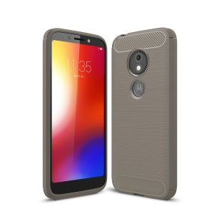 Carbon Fibre Brushed TPU Back Case for Motorola Moto E5 Play Go - Grey