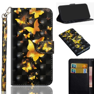 [Light Spot Decor] Pattern Leather Wallet Cover for Motorola One / P30 Play (China) - Gold Butterflies