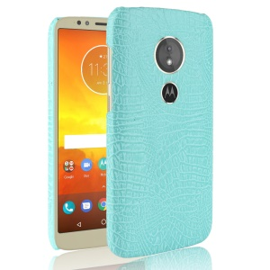 Crocodile Texture PU Leather Coated PC Mobile Casing for Motorola Moto E5 / G6 Play - Cyan