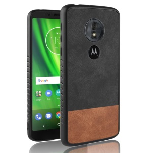 [Bi-color Splicing] PU Leather Coated PC + TPU Hybrid Case for Motorola Moto E5 / G6 Play - Black