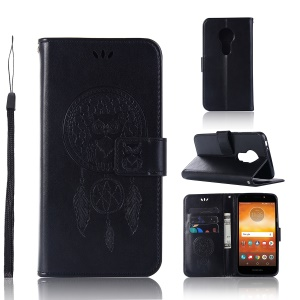 Imprint Owl Dream Catcher Wallet Stand Leather Casing for Motorola Moto E5 Play Go - Black