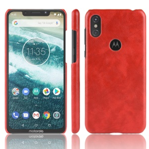 Litchi Skin Leather Coated Hard Back Case for Motorola One / P30 Play in China - Red