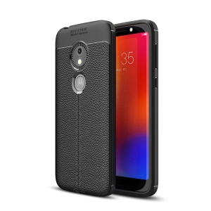 Litchi Texture TPU Case for Motorola Moto E5 Play Go - Black