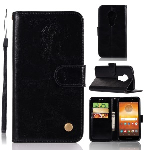 Premium Vintage Leather Wallet Case for Motorola Moto E5 Play Go (EU Version) - Black