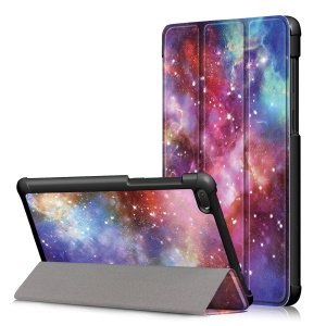 Pattern Printing Tri-fold Stand Leather Casing for Lenovo Tab E7 TB-7104F - Galaxy
