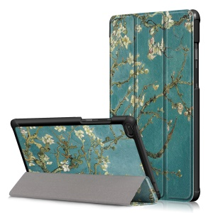 Patterned Tri-fold Stand Leather Cover Protector for Lenovo Tab E8 TB-8304F - Almond Tree in Blossom