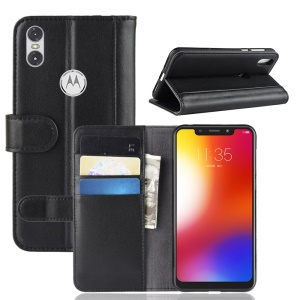 Split Leather Case Wallet Stand Phone Cover for Motorola One / P30 Play - Black