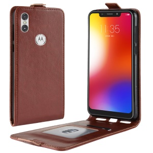 Crazy Horse Vertical Flip Leather Case with Card Slot for Motorola One / P30 Play (China) - Brown