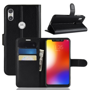 Litchi Texture Wallet Leather Flip Case for Motorola One / P30 Play - Black