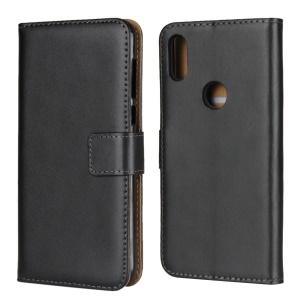 Wallet Stand Genuine Leather Protection Mobile Phone Case for Motorola One / P30 Play - Black