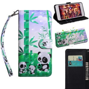 Pattern Printing Light Spot Decor PU Leather Stand Flip Casing for Motorola Moto E5 Play Go - Pandas