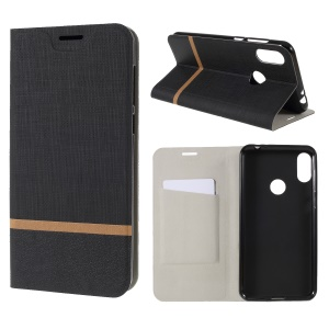 Cross Pattern Leather Card Holder Phone Case (Built-in Steel Sheet) for Motorola One Power / P30 Note - Black