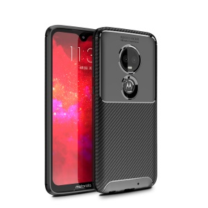 Anti-drop Carbon Fiber Texture Soft TPU Phone Case for Motorola Moto G7 / G7 Plus - Black
