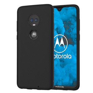 LENUO Twill Texture TPU Back Case Cover for Motorola Moto G7 / Moto G7 Plus - Black