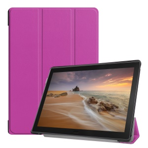 Tri-fold Leather Protective Case with Stand for Lenovo Tab E10 - Purple