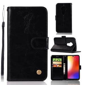 Vintage Premium PU Leather Wallet Case with Stand for Motorola Moto G7 / Moto G7 Plus - Black