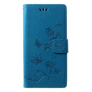 Imprint Butterfly Flowers Leather Wallet Shell Case Cover for Motorola Moto G7 / G7 Plus - Blue