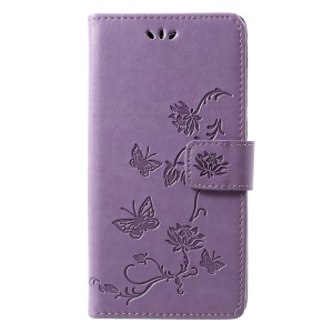 Imprint Butterfly Flowers Leather Stand Case with Card Slots for Motorola Moto G7 - Light Purple