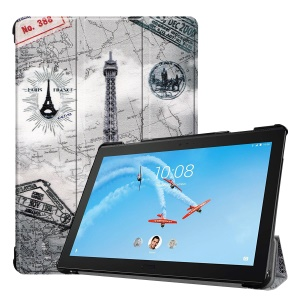 Pattern Printing Tri-fold Stand Leather Case for Lenovo Tab P10 10.1-inch - Eiffel Tower