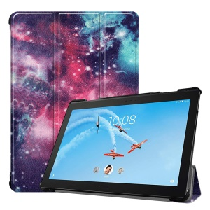 Pattern Printing Tri-fold Stand Leather Protector Case for Lenovo Tab P10 10.1-inch - Galaxy