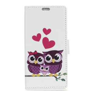 Pattern Printing Magnetic Stand Leather Wallet Case for Motorola P40 - Sweet Owl Family