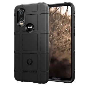 Rugged Square Grid Texture TPU Anti-shock Case for Motorola P40 - Black
