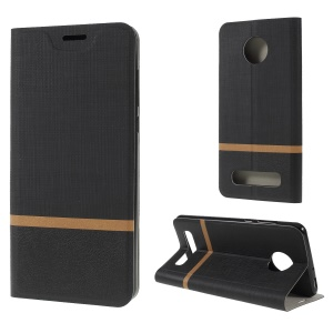 Cross Texture Contrast Color Leather Stand Case for Motorola Moto Z4 Play - Black