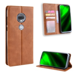 Vintage Style Auto-absorbed Leather Case with Stand for Motorola Moto G7 / G7 Plus - Brown
