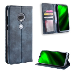 Vintage Style Auto-absorbed Leather Mobile Casing for Motorola Moto G7 / G7 Plus - Blue