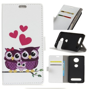 Pattern Printing PU Leather Wallet Case for Motorola Moto Z4 Play - Owl Family