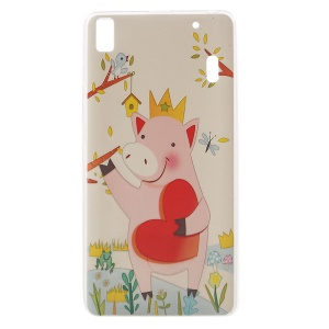 Softlyfit Embossing Pattern Printing TPU Skin Cover for Lenovo A7000 / K3 Note K50-t5 - Lovely Pink Pig
