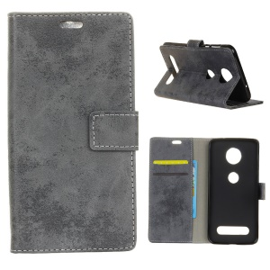 Vintage Style Wallet PU Leather Stand Protective Case for Motorola Moto Z4 Play - Grey