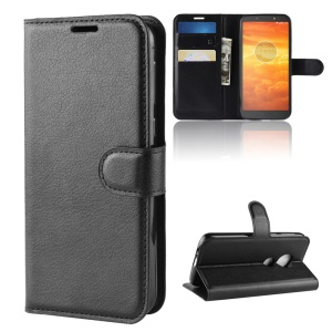 Litchi Skin PU Leather Magnetic Wallet Stand Case for Motorola Moto E5 Play Go - Black
