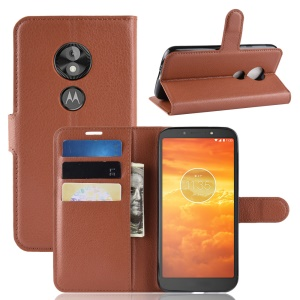 Litchi Skin PU Leather Magnetic Wallet Stand Protective Shell for Motorola Moto E5 Play Go - Brown