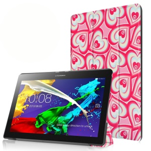 Tri-fold Stand Flip Leather Case for Lenovo Tab 2 A10-30 - Multiple Hearts