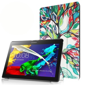 Tri-fold Stand Leather Shell for Lenovo Tab 2 A10-30 - Colorful Trees