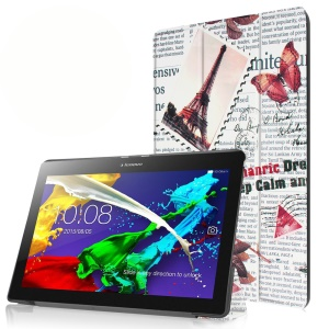 Tri-fold Stand Flip Leather Case for Lenovo Tab 2 A10-30 - Stamp and Butterfly