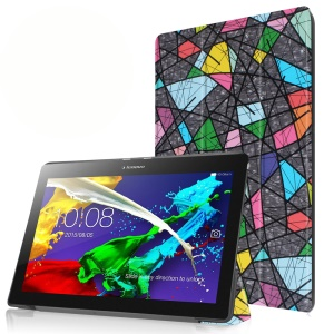 Tri-fold Stand Flip Leather Case for Lenovo Tab 2 A10-30 - Abstract Picture
