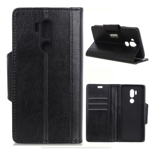 Textured PU Leather Wallet Magnetic Stand Mobile Case for LG G7 One - Black