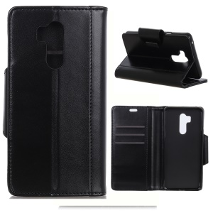 PU Leather Case for LG G7 ThinQ Card Slots All Round Protection Leather Case - Black