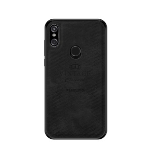 PINWUYO Honorable Series PC + TPU + Leather Hybrid Cover for Motorola One Power/P30 Note - Black