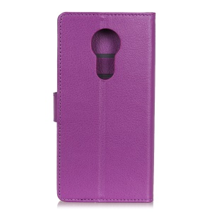 Litchi Skin Leather Stand Case with Card Slots for Motorola Moto G7 Power - Purple