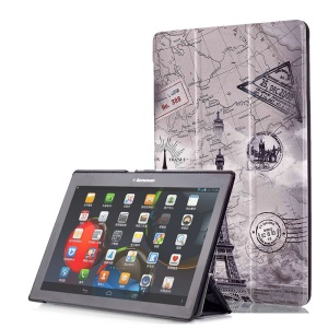 Smart Leather Stand Case for Lenovo TAB 2 A10-30 X30 / TAB 2 A10-70 - Eiffel Tower and Map