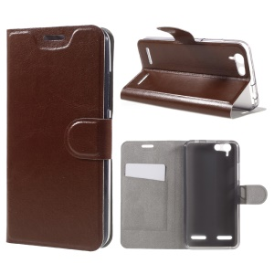 Crazy Horse Leather Card Slot Phone Case for Lenovo Lemon 3 - Brown