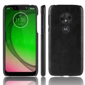 Litchi Texture PU Leather Coated PC Hard Case for Motorola Moto G7 Play US Version - Black