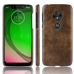 Litchi Texture PU Leather Coated PC Hard Case for Motorola Moto G7 Play US Version - Brown